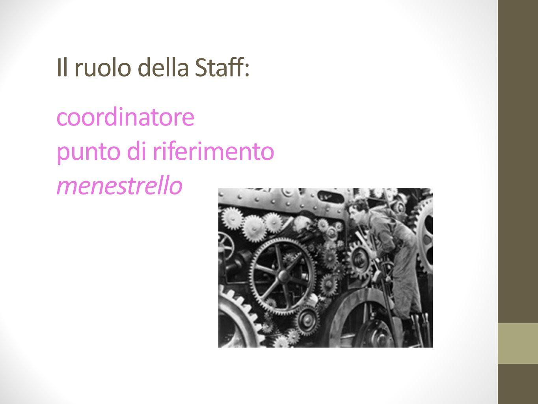 Il ruolo della Staff: coordinatore punto di riferimento menestrello