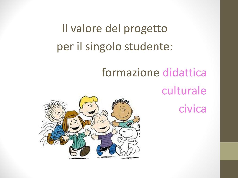 Il valore del progetto per il singolo studente: formazione didattica culturale civica