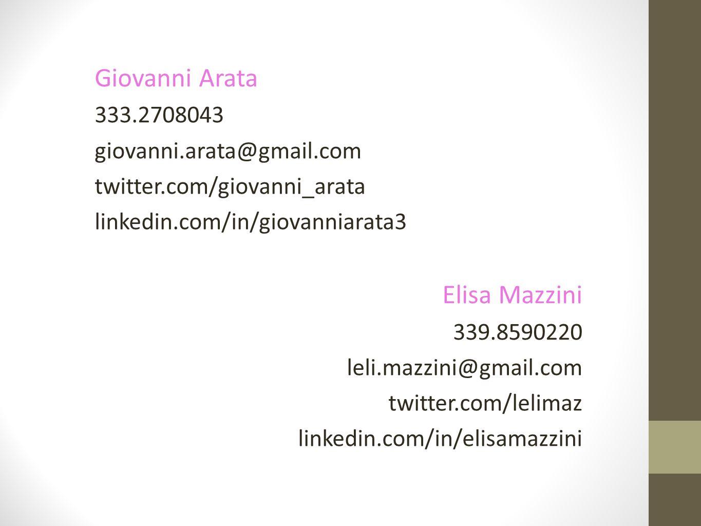 Giovanni Arata 333.2708043 giovanni.arata@gmail.com twitter.com/giovanni_arata linkedin.com/in/giovanniarata3 Elisa Mazzini 339.8590220 leli.mazzini@gmail.com twitter.com/lelimaz linkedin.com/in/elisamazzini