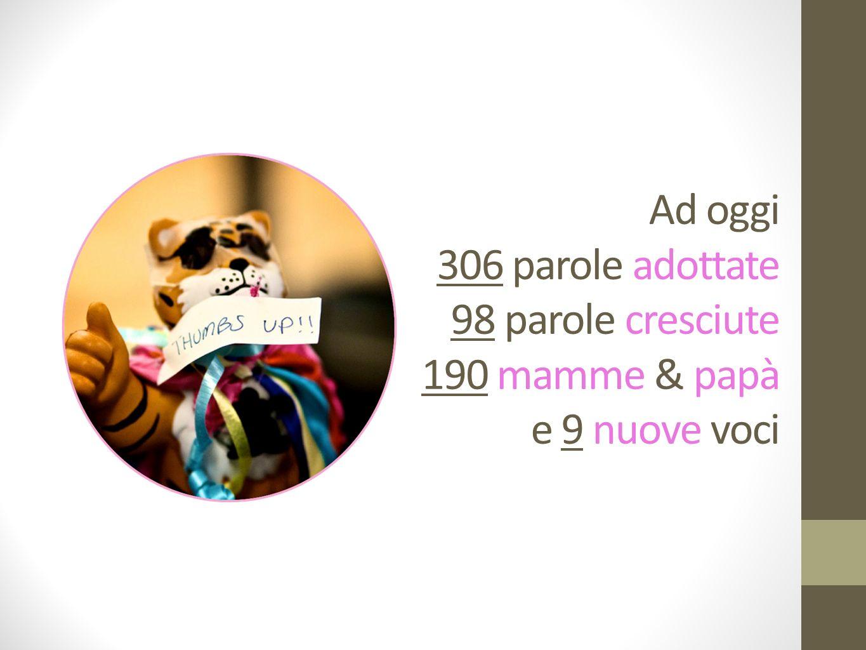 Ad oggi 306 parole adottate 98 parole cresciute 190 mamme & papà e 9 nuove voci