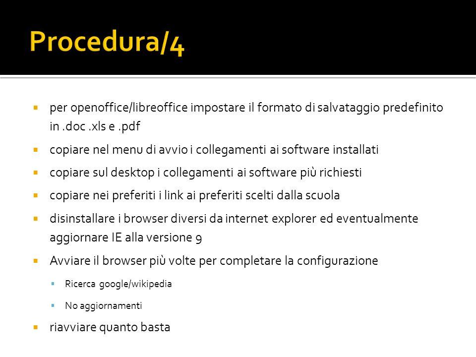 per openoffice/libreoffice impostare il formato di salvataggio predefinito in.doc.xls e.pdf copiare nel menu di avvio i collegamenti ai software insta