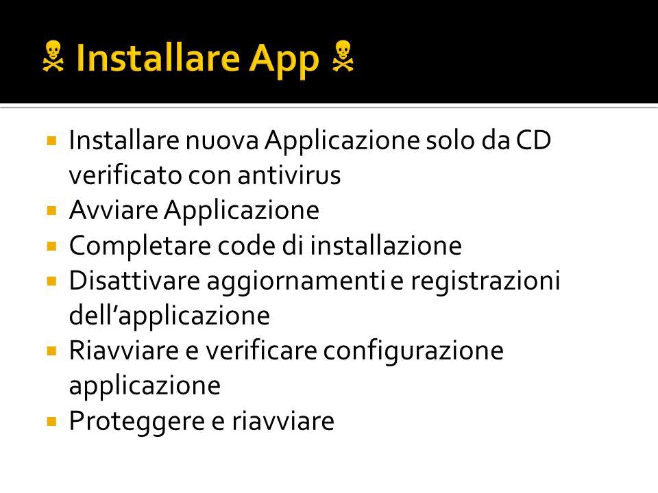 Installare nuova Applicazione solo da CD verificato con antivirus Avviare Applicazione Completare code di installazione Disattivare aggiornamenti e re