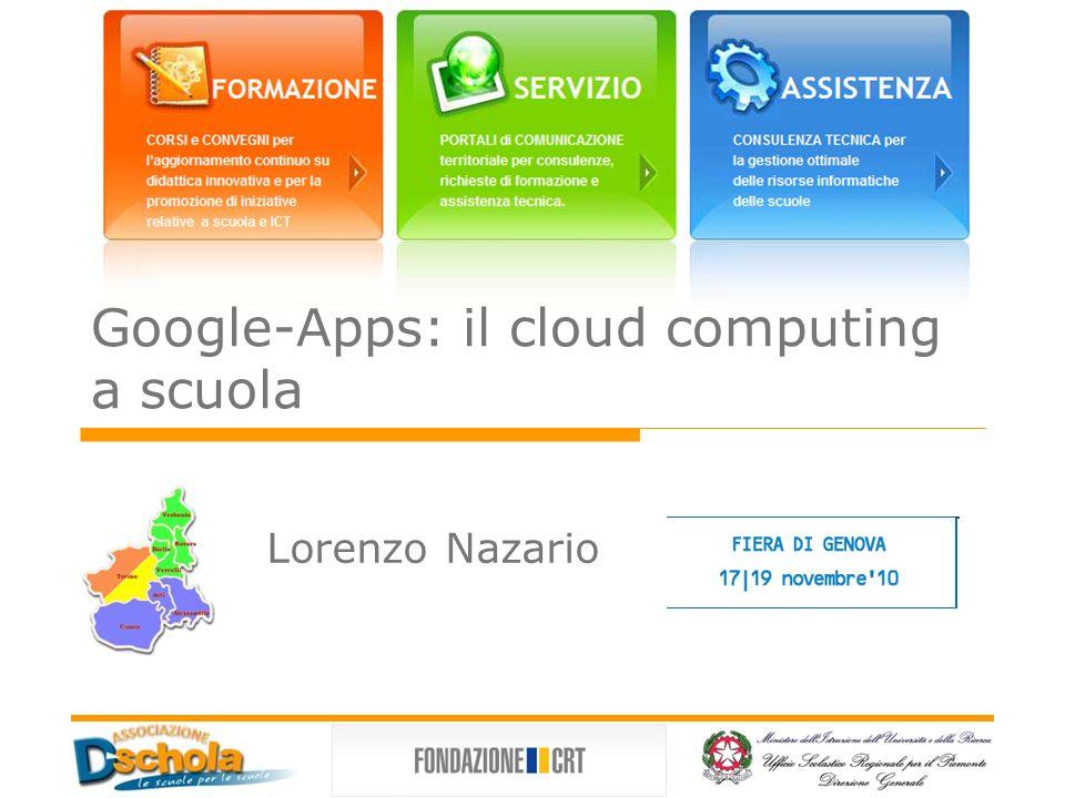 Il cloud computing a scuola Con il termine cloud computing si intende un insieme di tecnologie informatiche che permettono l utilizzo di risorse hw o sw distribuite in remoto SAAS (Software as a Service) GoogleApps, Amazon Elastic Compute Cloud (Amazon EC2), Microsoft Cloud Services