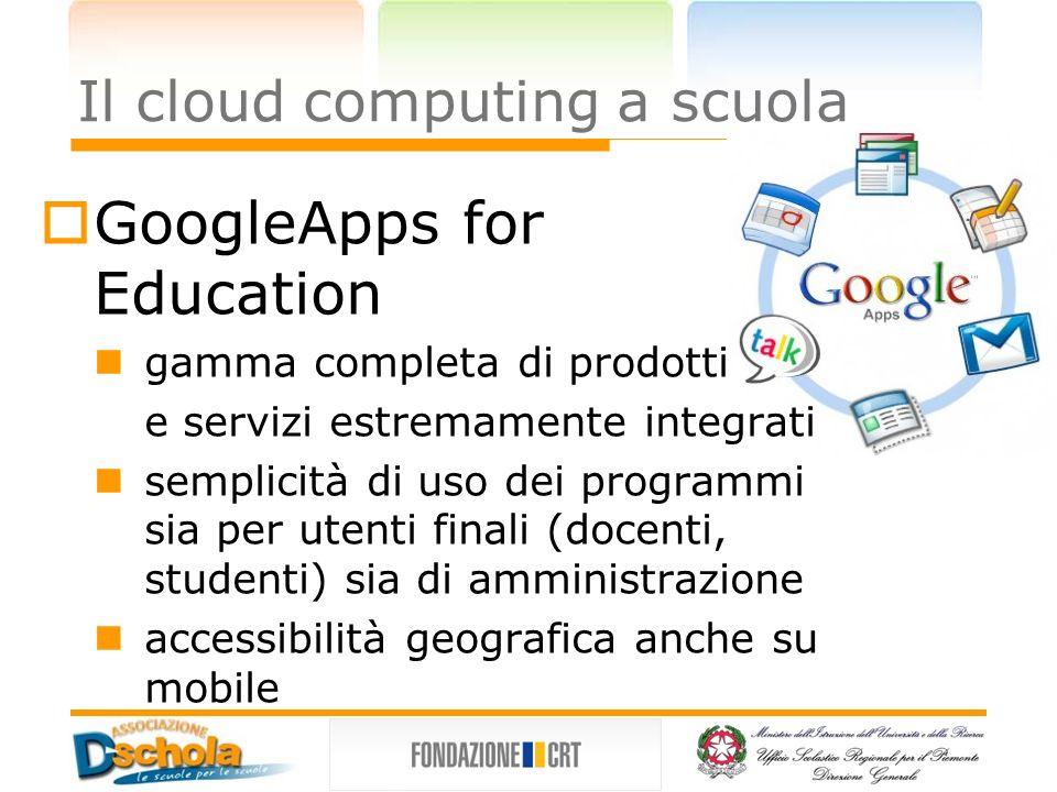 Il cloud computing a scuola Punti di forza potenza di calcolo tendente ad infinito continuità del servizio forte predisposizione alla condivisione dei contenuti disponibilità geografica