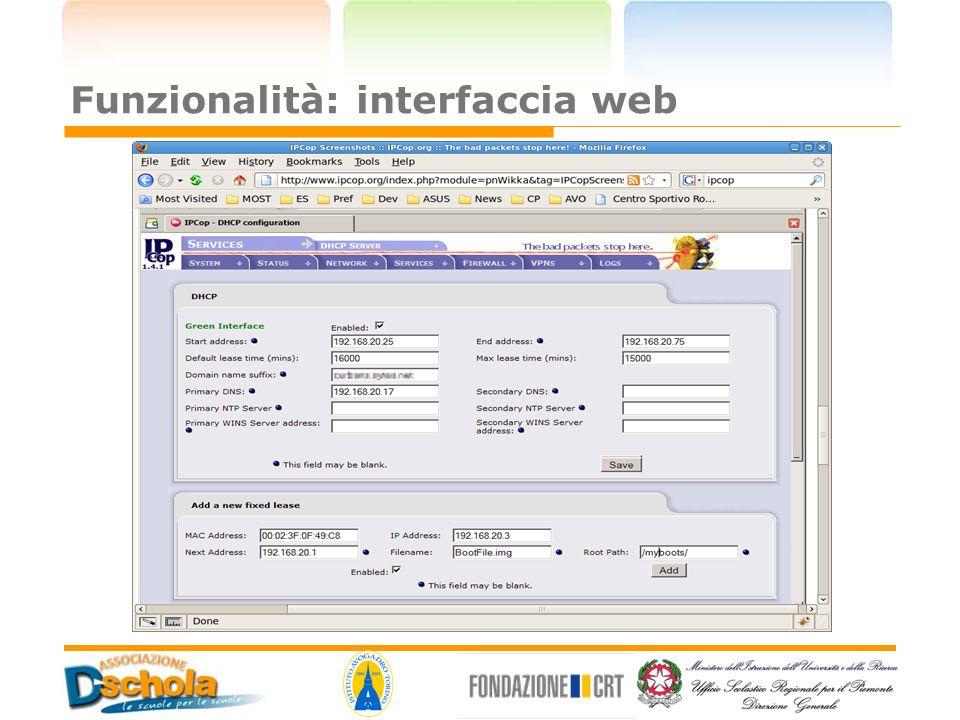 Funzionalità: interfaccia web