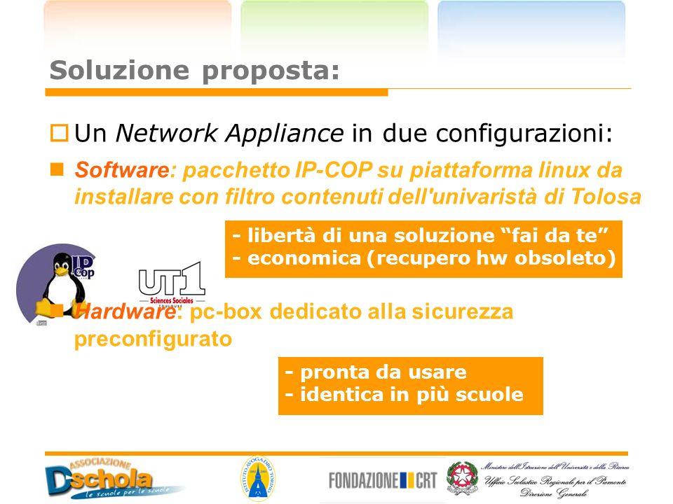 Soluzione proposta: Un Network Appliance in due configurazioni: Software: pacchetto IP-COP su piattaforma linux da installare con filtro contenuti del