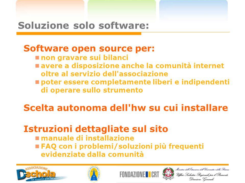 Soluzione solo software: Software open source per: non gravare sui bilanci avere a disposizione anche la comunità internet oltre al servizio dell'asso