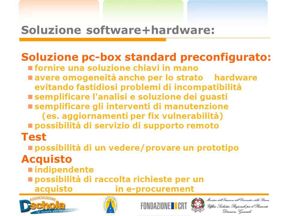 Soluzione software+hardware: Soluzione pc-box standard preconfigurato: fornire una soluzione chiavi in mano avere omogeneità anche per lo strato hardw
