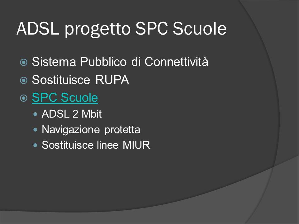 ADSL progetto SPC Scuole Sistema Pubblico di Connettività Sostituisce RUPA SPC Scuole ADSL 2 Mbit Navigazione protetta Sostituisce linee MIUR