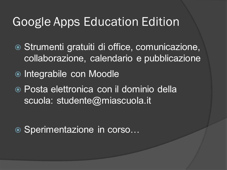 Google Apps Education Edition Strumenti gratuiti di office, comunicazione, collaborazione, calendario e pubblicazione Integrabile con Moodle Posta elettronica con il dominio della scuola: studente@miascuola.it Sperimentazione in corso…