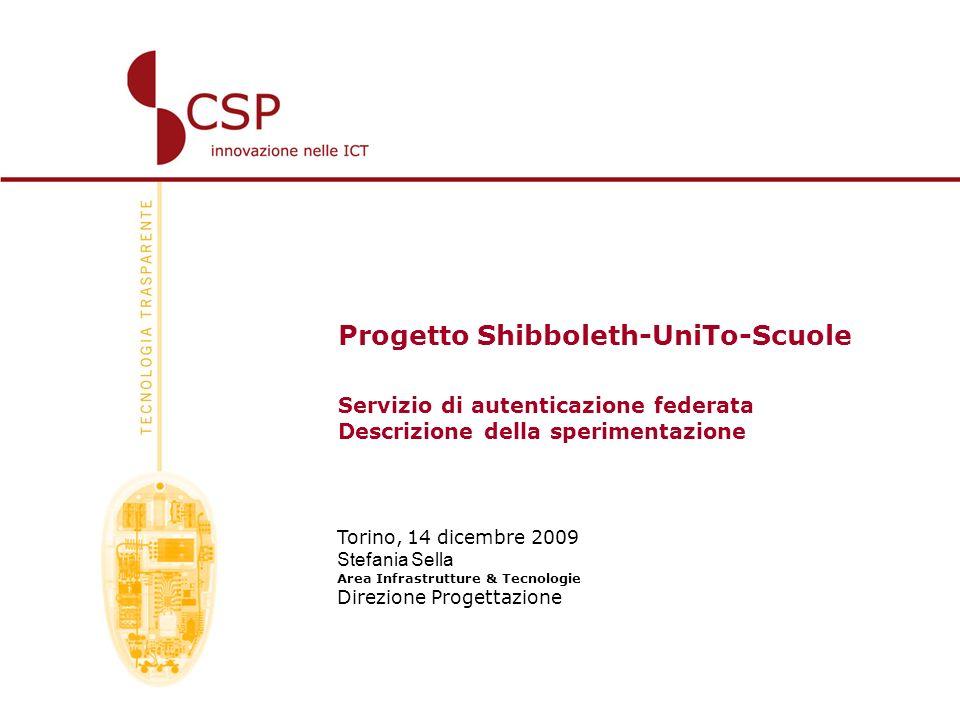Progetto Shibboleth-UniTo-Scuole Servizio di autenticazione federata Descrizione della sperimentazione Torino, 14 dicembre 2009 Stefania Sella Area In