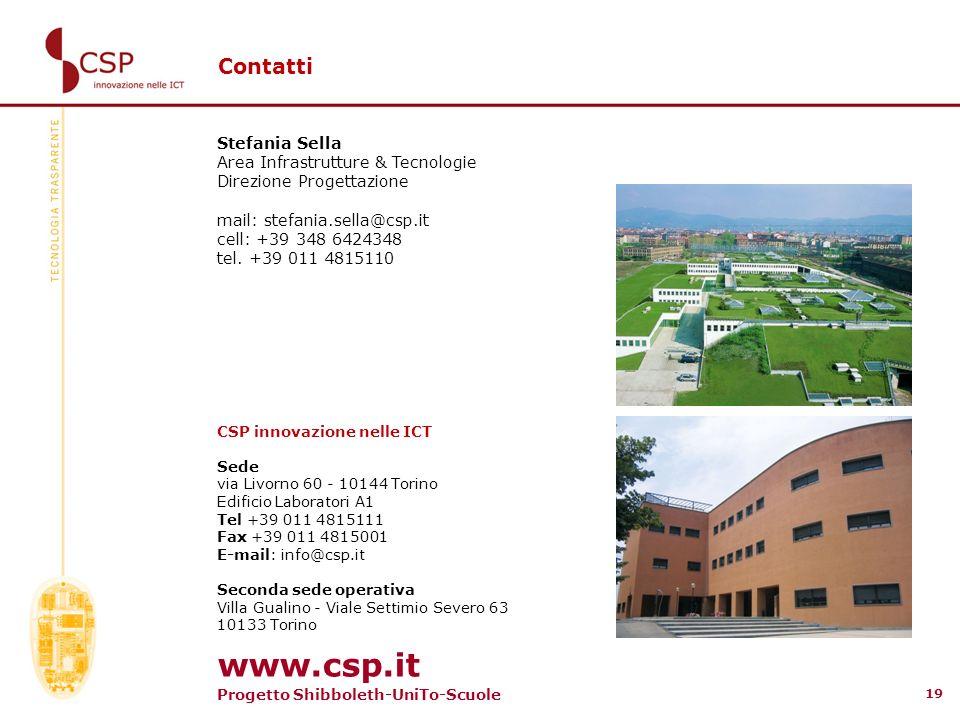 Progetto Shibboleth-UniTo-Scuole 19 Contatti Stefania Sella Area Infrastrutture & Tecnologie Direzione Progettazione mail: stefania.sella@csp.it cell: