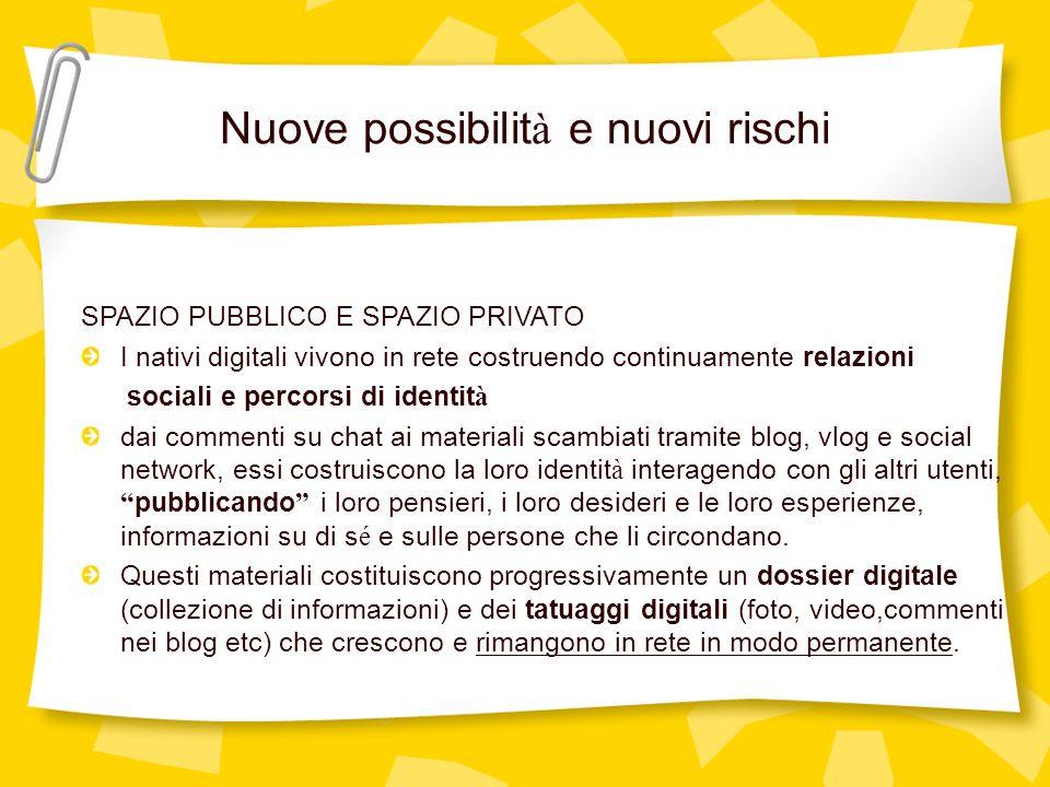 Nuove possibilit à e nuovi rischi SPAZIO PUBBLICO E SPAZIO PRIVATO I nativi digitali vivono in rete costruendo continuamente relazioni sociali e perco