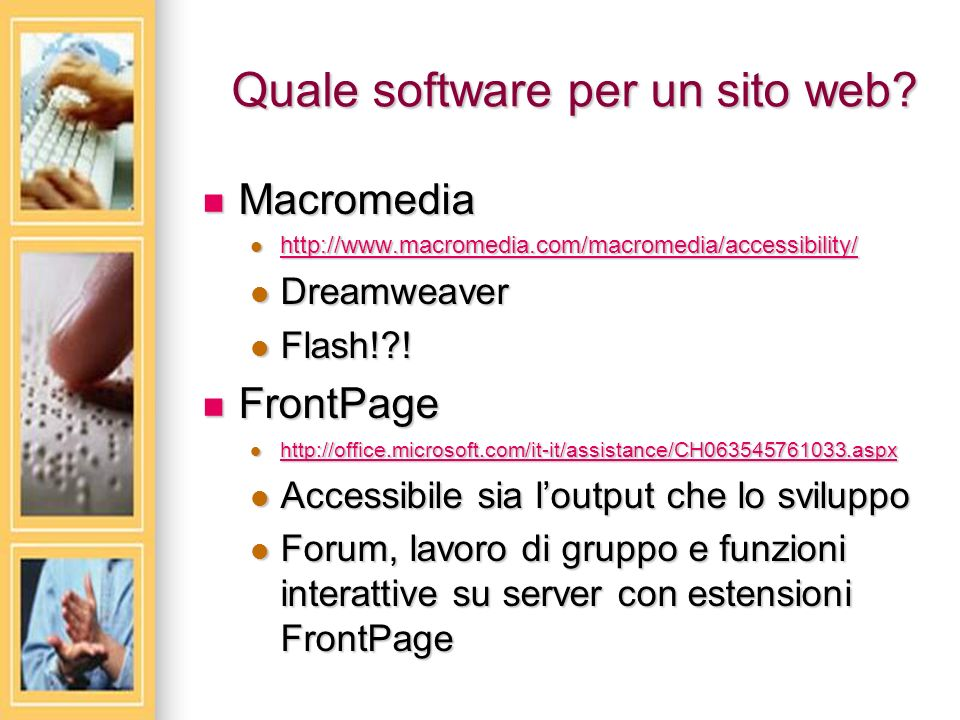 Quale software per un sito web.