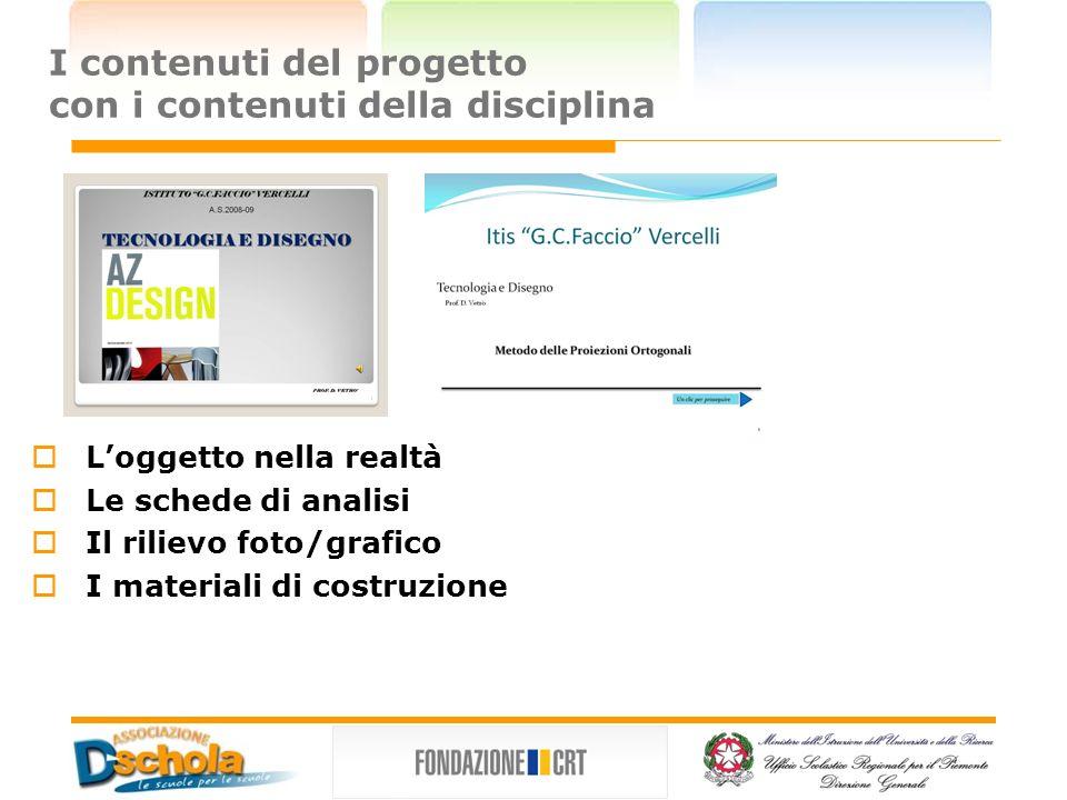 I contenuti del progetto con i contenuti della disciplina Loggetto nella realtà Le schede di analisi Il rilievo foto/grafico I materiali di costruzione