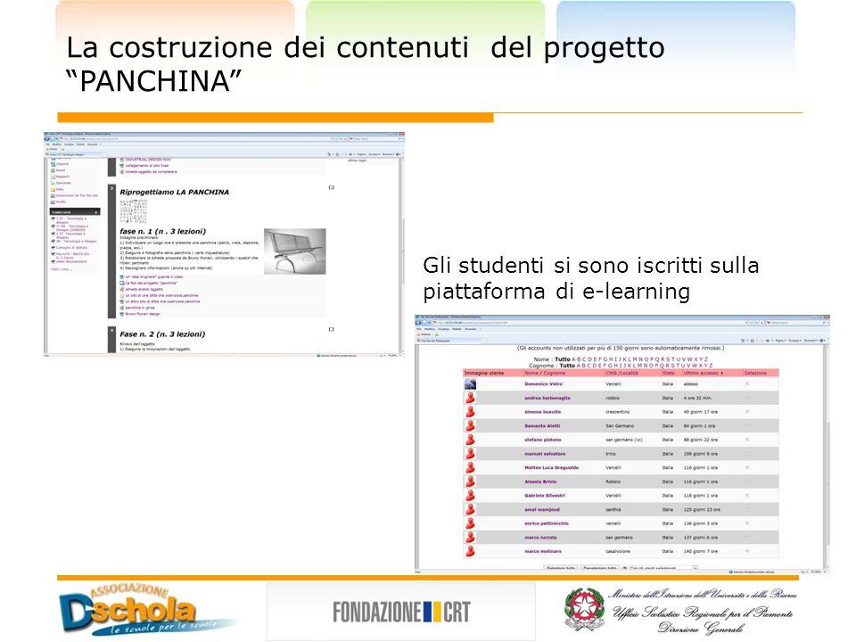 La costruzione dei contenuti del progetto PANCHINA Gli studenti si sono iscritti sulla piattaforma di e-learning