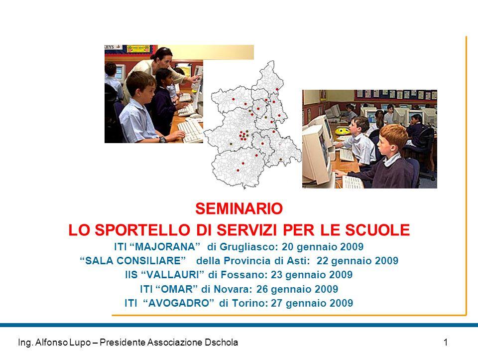 1Ing. Alfonso Lupo – Presidente Associazione Dschola SEMINARIO LO SPORTELLO DI SERVIZI PER LE SCUOLE ITI MAJORANA di Grugliasco: 20 gennaio 2009 SALA