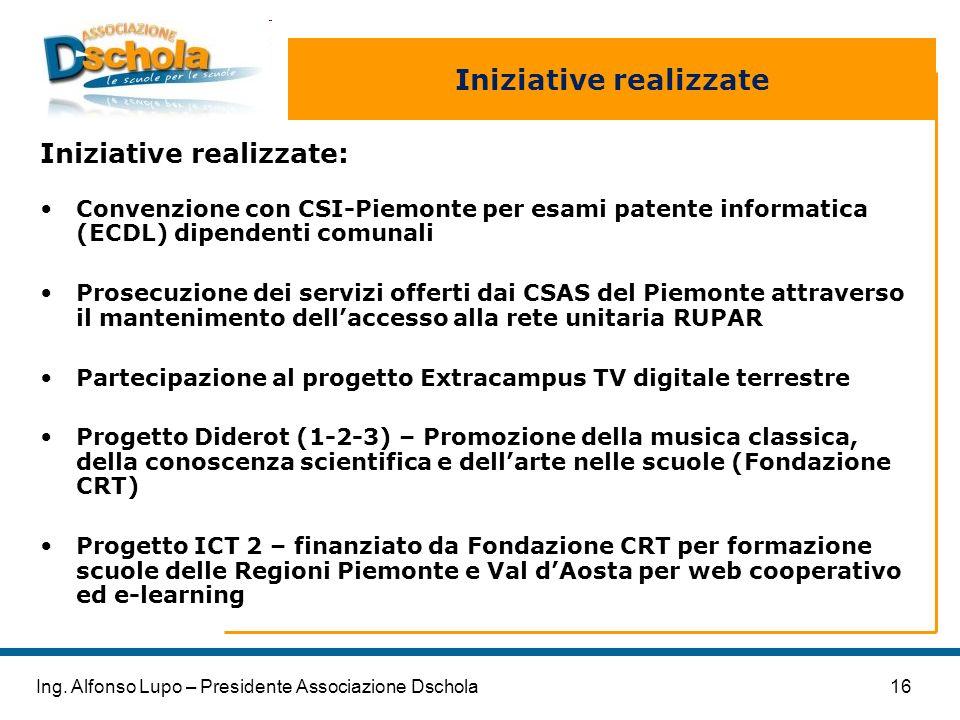16Ing. Alfonso Lupo – Presidente Associazione Dschola Iniziative realizzate Iniziative realizzate: Convenzione con CSI-Piemonte per esami patente info