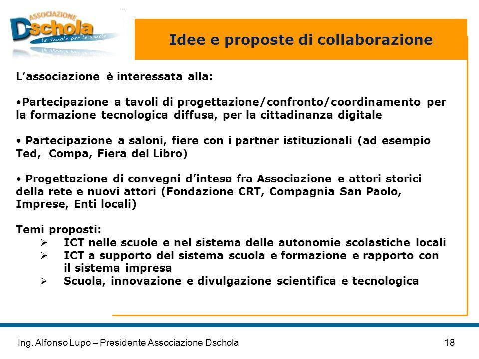 18Ing. Alfonso Lupo – Presidente Associazione Dschola Idee e proposte di collaborazione Lassociazione è interessata alla: Partecipazione a tavoli di p