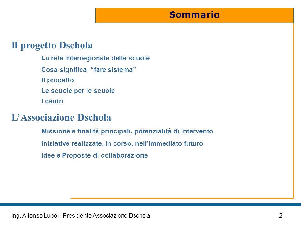 2Ing. Alfonso Lupo – Presidente Associazione Dschola Sommario Il progetto Dschola La rete interregionale delle scuole Cosa significa fare sistema Il p
