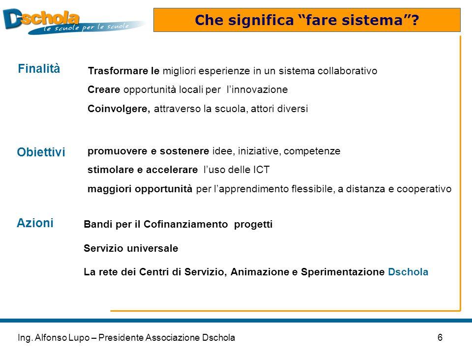6Ing. Alfonso Lupo – Presidente Associazione Dschola Che significa fare sistema? Trasformare le migliori esperienze in un sistema collaborativo Creare