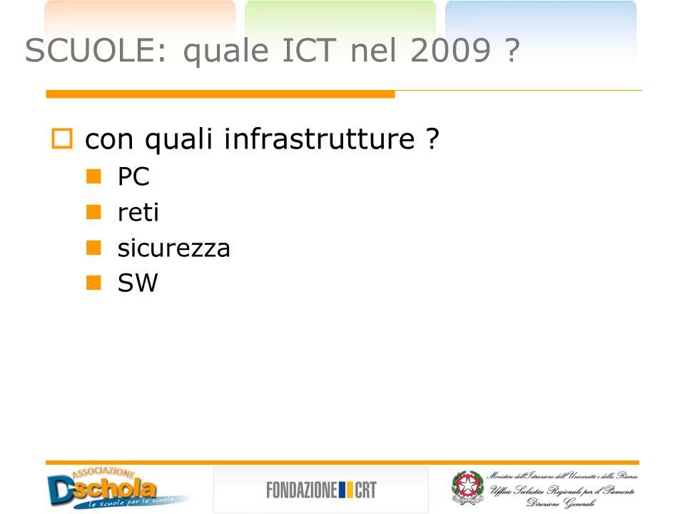 SCUOLE: quale ICT nel 2009 con quali infrastrutture PC reti sicurezza SW