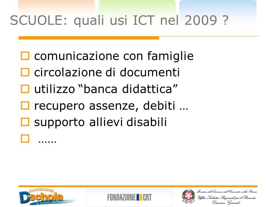 SCUOLE: quali usi ICT nel 2009 .