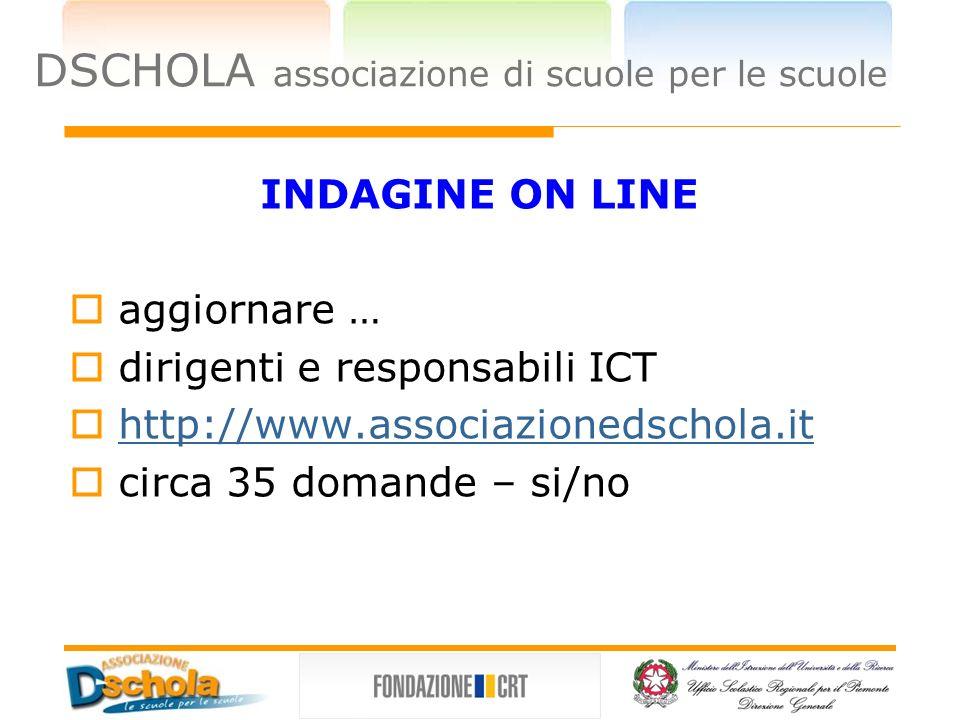 DSCHOLA associazione di scuole per le scuole INDAGINE ON LINE aggiornare … dirigenti e responsabili ICT http://www.associazionedschola.it circa 35 domande – si/no