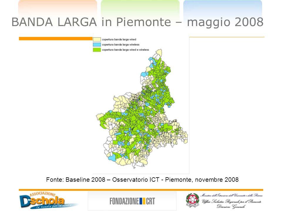 BANDA LARGA in Piemonte – maggio 2008 Fonte: Baseline 2008 – Osservatorio ICT - Piemonte, novembre 2008
