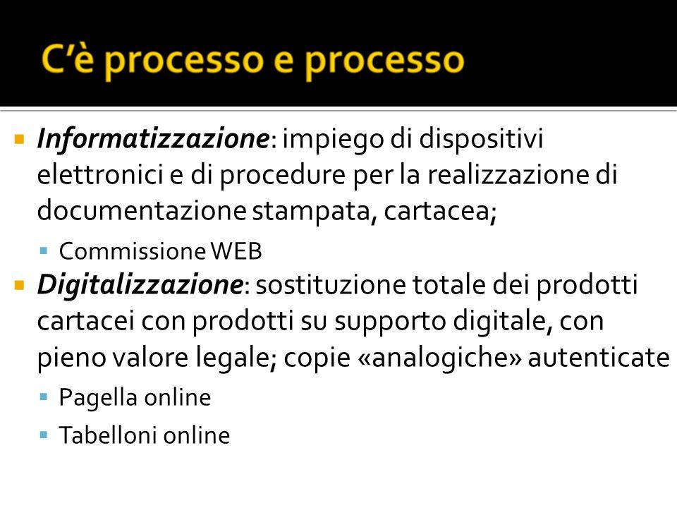 Informatizzazione: impiego di dispositivi elettronici e di procedure per la realizzazione di documentazione stampata, cartacea; Commissione WEB Digita