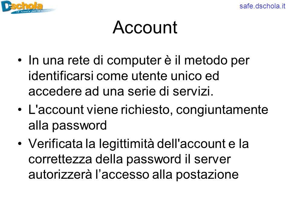 safe.dschola.it Account In una rete di computer è il metodo per identificarsi come utente unico ed accedere ad una serie di servizi. L'account viene r