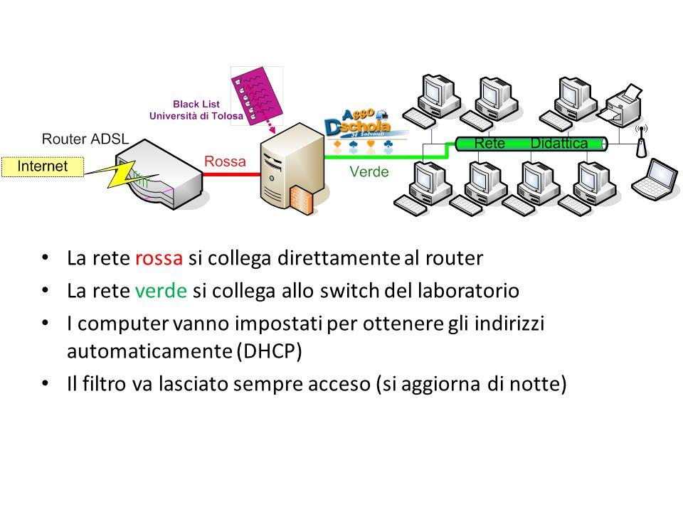 La rete rossa si collega direttamente al router La rete verde si collega allo switch del laboratorio I computer vanno impostati per ottenere gli indir
