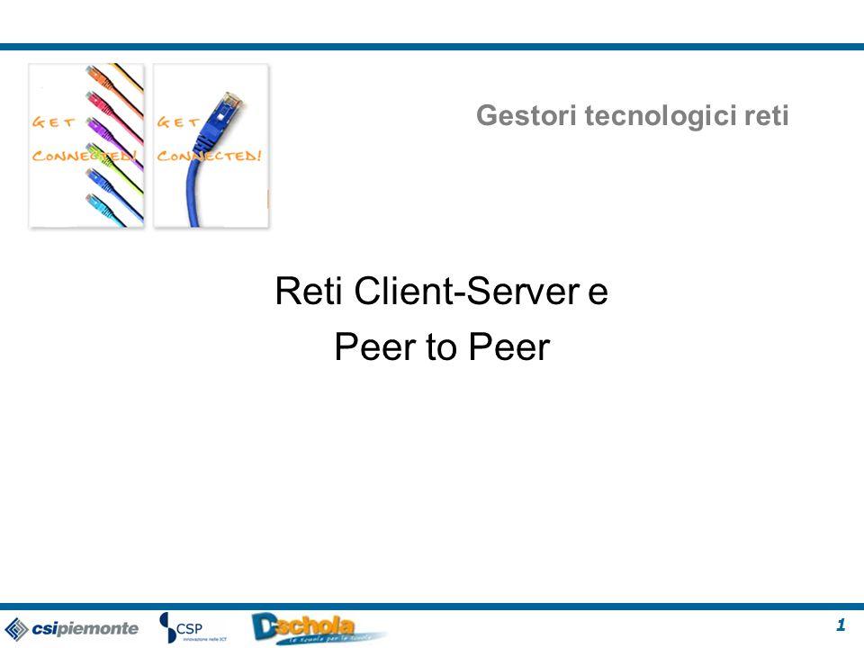1 Gestori tecnologici reti Reti Client-Server e Peer to Peer