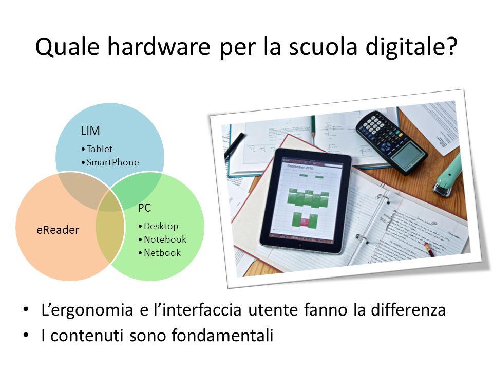 Quale hardware per la scuola digitale? Lergonomia e linterfaccia utente fanno la differenza I contenuti sono fondamentali LIM Tablet SmartPhone PC Des