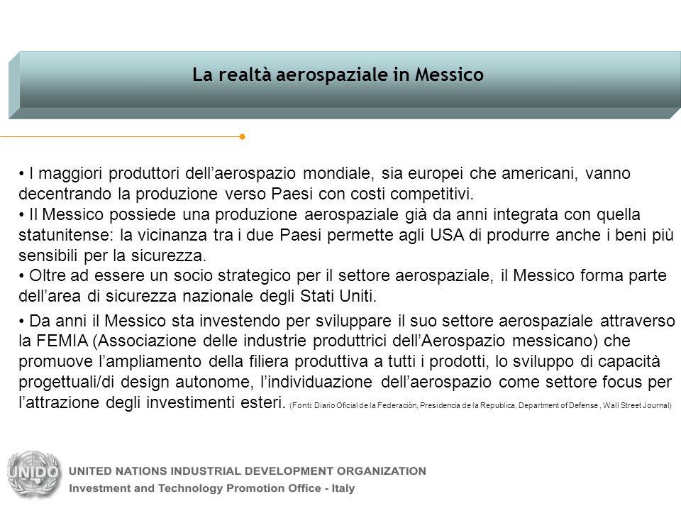 I maggiori produttori dellaerospazio mondiale, sia europei che americani, vanno decentrando la produzione verso Paesi con costi competitivi. Il Messic