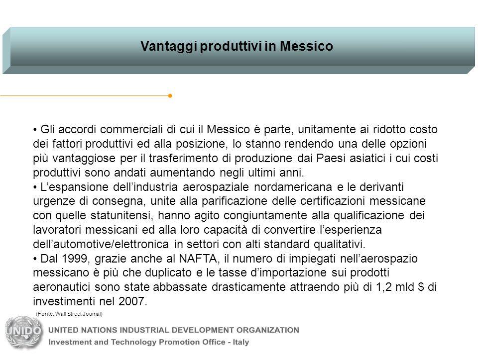Vantaggi produttivi in Messico Gli accordi commerciali di cui il Messico è parte, unitamente ai ridotto costo dei fattori produttivi ed alla posizione, lo stanno rendendo una delle opzioni più vantaggiose per il trasferimento di produzione dai Paesi asiatici i cui costi produttivi sono andati aumentando negli ultimi anni.
