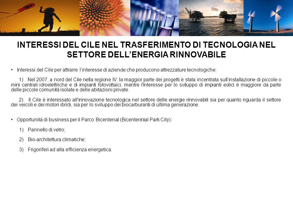 Interessi del Cile per attrarre linteresse di aziende che producono attrezzature tecnologiche: 1) Nel 2007, a nord del Cile nella regione IV, la maggi