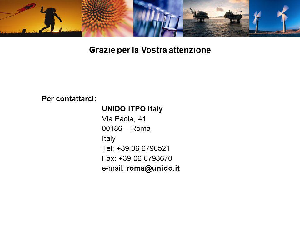 Grazie per la Vostra attenzione Per contattarci: UNIDO ITPO Italy Via Paola, 41 00186 – Roma Italy Tel: +39 06 6796521 Fax: +39 06 6793670 e-mail: rom