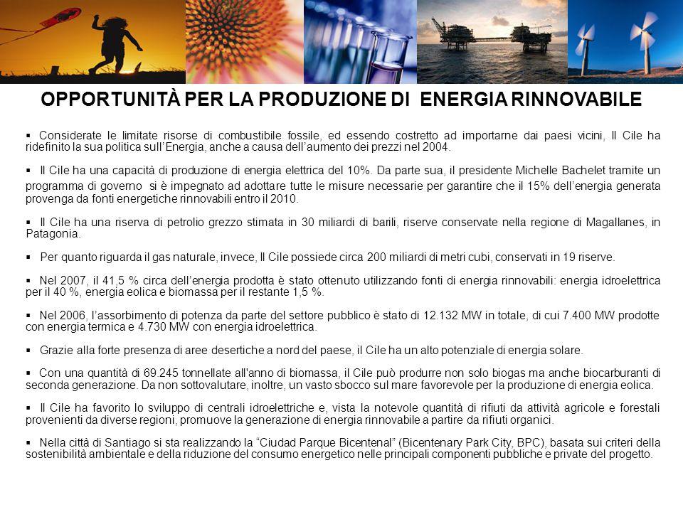 Il Cile ha attualmente in progetto 9 centrali eoliche, delle quali 3 da 40 m.