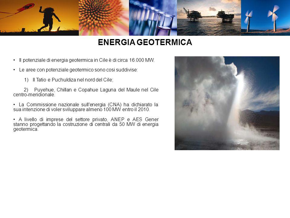 Il potenziale di energia geotermica in Cile è di circa 16.000 MW. Le aree con potenziale geotermico sono cosi suddivise: 1) Il Tatio e Puchuldiza nel