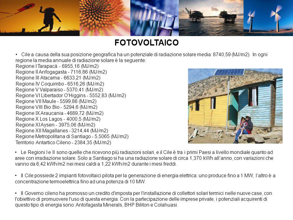FOTOVOLTAICO Cile a causa della sua posizione geografica ha un potenziale di radiazione solare media: 8740,59 (MJ/m2). In ogni regione la media annual