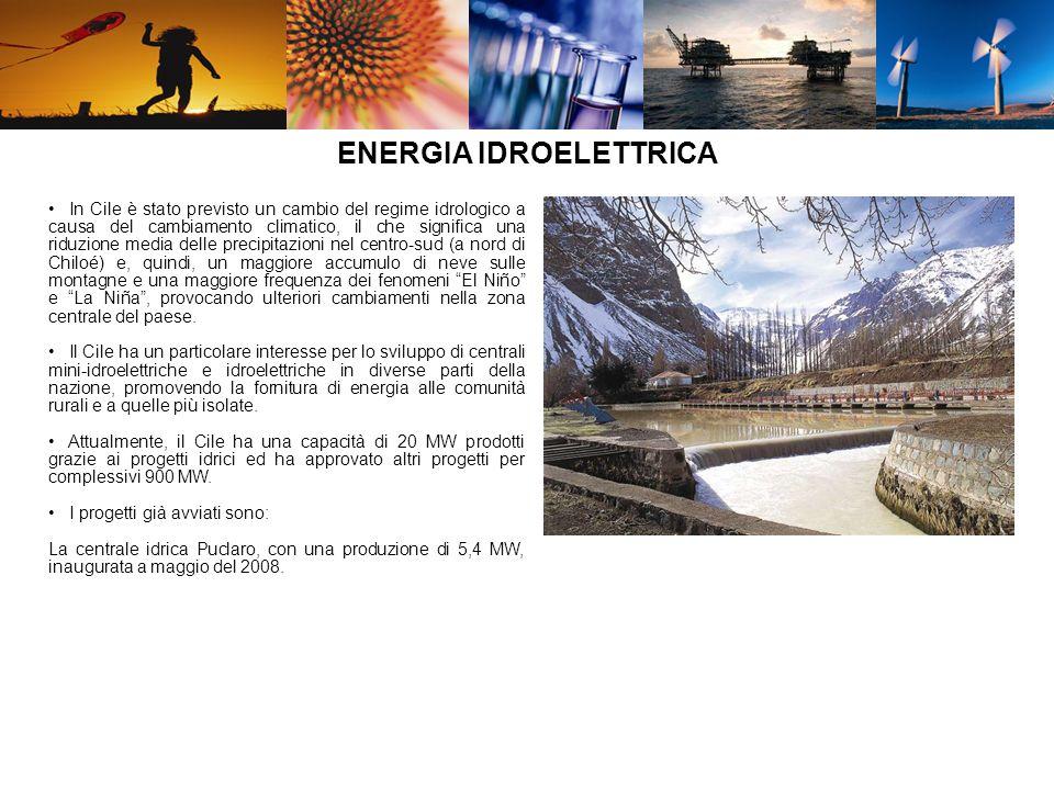 REGIONI IN CILE CON PROGETTI SULLENERGIA RINNOVABILE REGIONITIPO DI PROGETTI AysenCentrale eolica AntofagastaImpianto fotovoltaico Bio Centrali Idroelettriche, eoliche, a biomassa Coquimbo (IV)Centrale mini-idroelettrica, fotovoltaico.