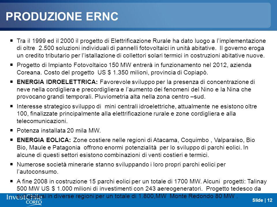PRODUZIONE ERNC Tra il 1999 ed il 2000 il progetto di Elettrificazione Rurale ha dato luogo a limplementazione di oltre 2.500 soluzioni individuali di