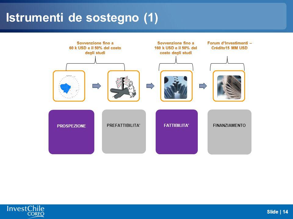 Istrumenti de sostegno (1) Slide | 14 PROSPEZIONE PREFATTIBILITA FATTIBILITA FINANZIAMENTO