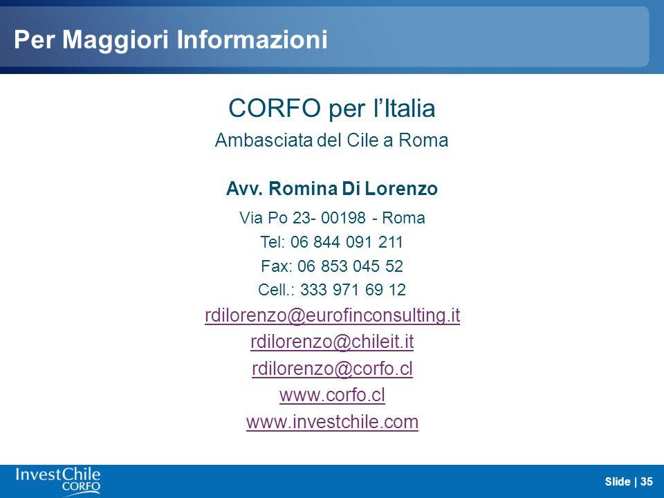Per Maggiori Informazioni CORFO per lItalia Ambasciata del Cile a Roma Avv. Romina Di Lorenzo Via Po 23- 00198 - Roma Tel: 06 844 091 211 Fax: 06 853