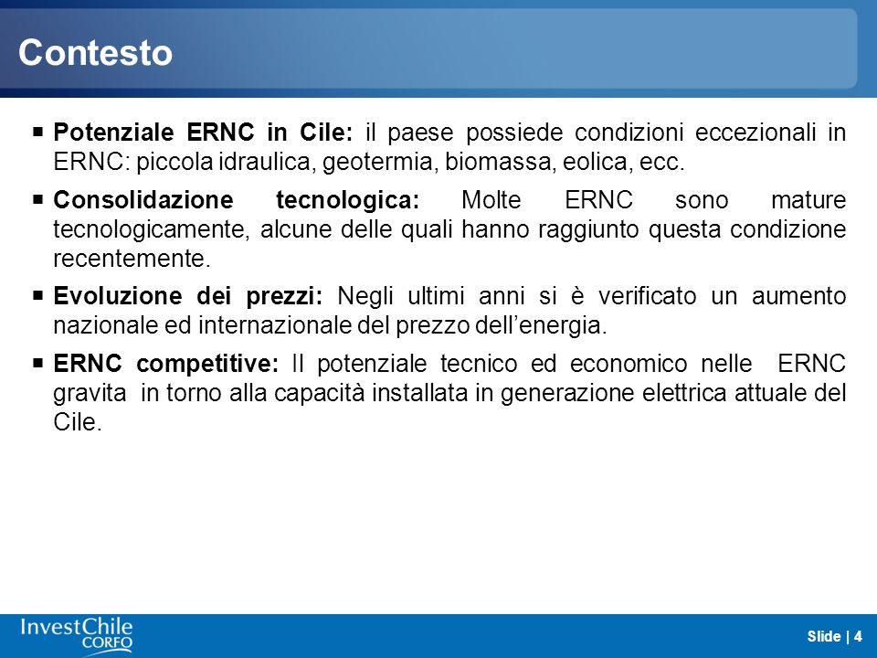 Contesto Potenziale ERNC in Cile: il paese possiede condizioni eccezionali in ERNC: piccola idraulica, geotermia, biomassa, eolica, ecc. Consolidazion