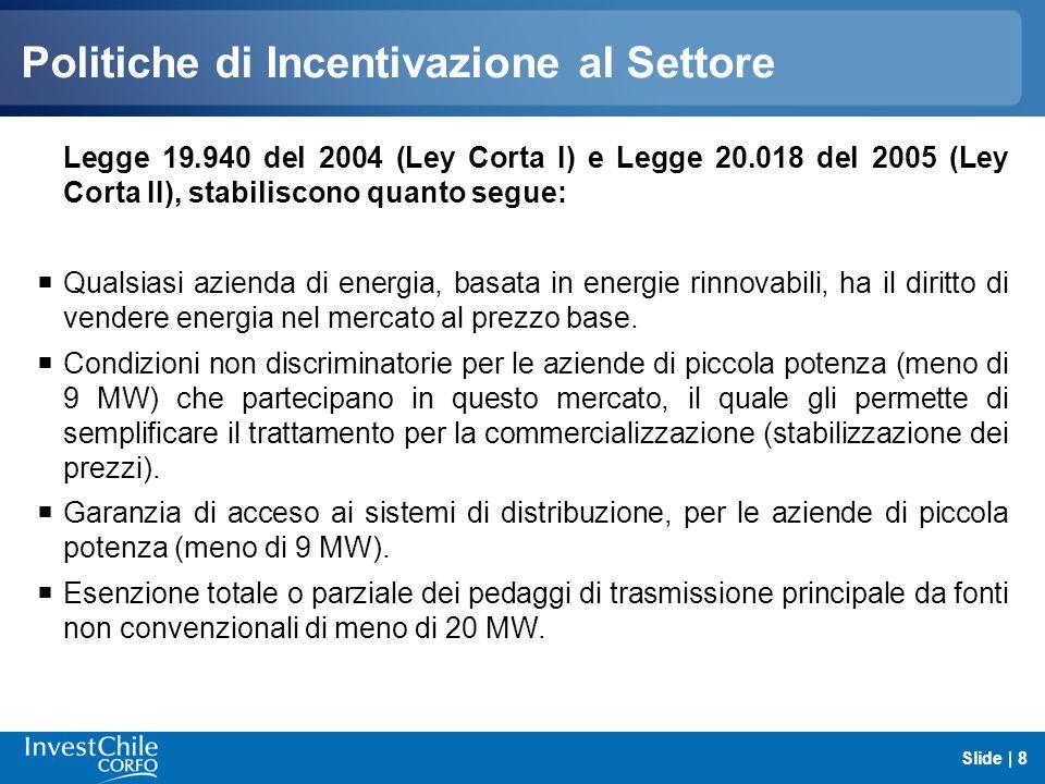 Politiche di Incentivazione al Settore Legge 20.257 del 2008 (Legge dEnergie Rinnovabili) stabilisce quanto segue: Il 5% dellenergia venduta dalle aziende dovrà provenire da fonti rinnovabili (ERNC), a partire del 2010.