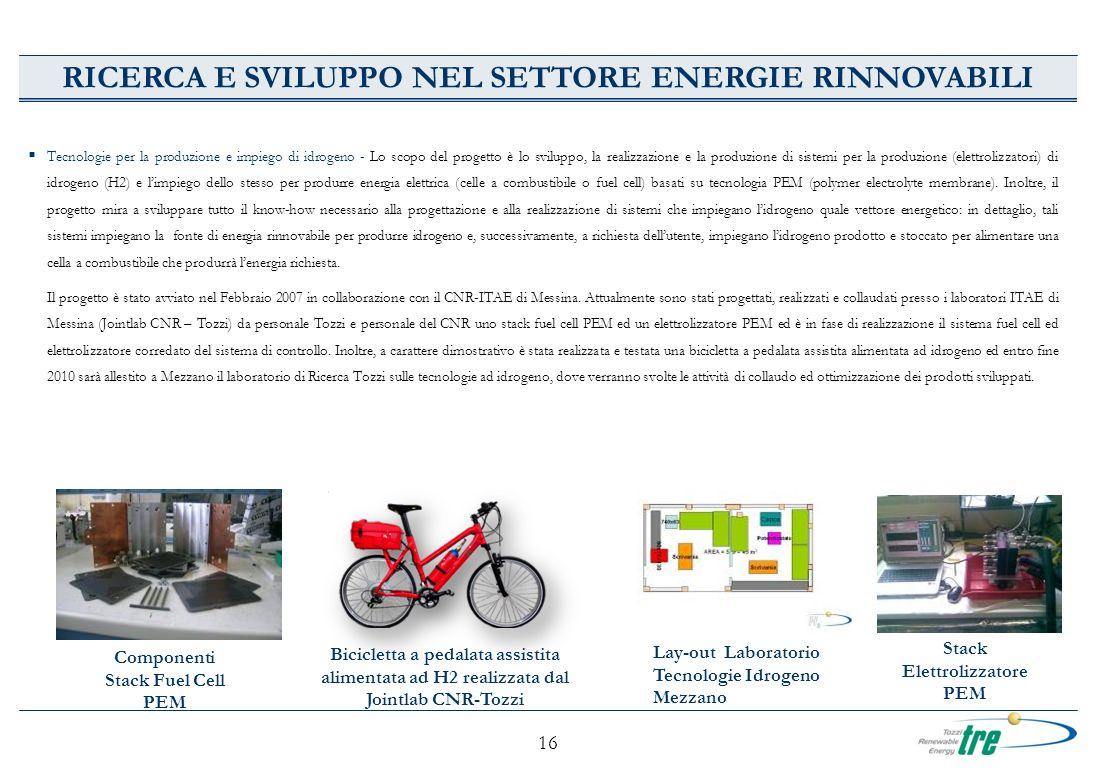 16 Tecnologie per la produzione e impiego di idrogeno - Lo scopo del progetto è lo sviluppo, la realizzazione e la produzione di sistemi per la produz