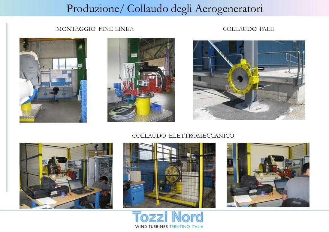 Produzione/ Collaudo degli Aerogeneratori COLLAUDO ELETTROMECCANICO COLLAUDO PALEMONTAGGIO FINE LINEA
