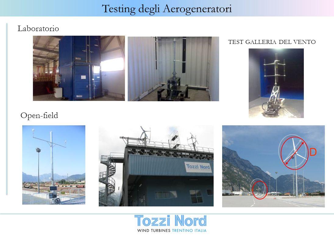 Testing degli Aerogeneratori Open-field D TEST GALLERIA DEL VENTO Laboratorio